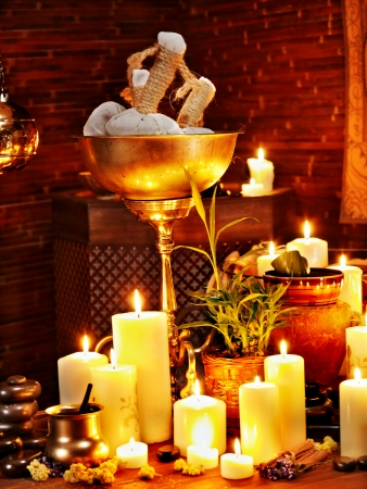 herbal massage ball: Luxury ayurvedic spa massage still life. Stock Photo