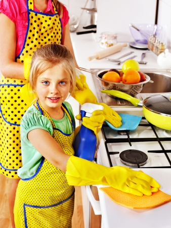 washup: Children cleaning  kitchen. Housekeeping.