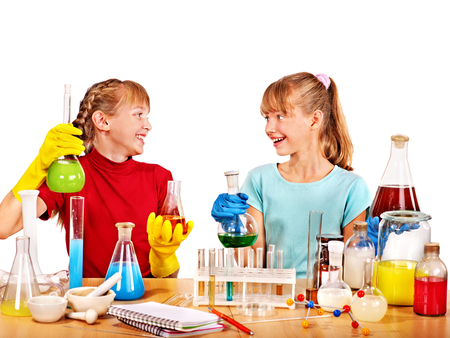 Child holding flask in chemistry on isolated. photo