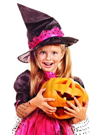 Happy witch children at Halloween party. Stock Photo