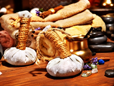 herbal massage ball: Lastone ayurvedic spa massage still life.