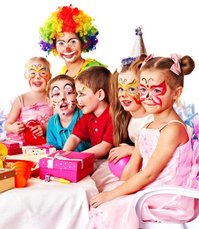clown face: Children happy birthday party . Stock Photo