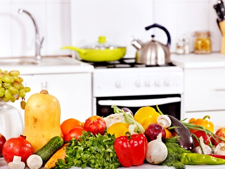 Interior of kitchen with fresh vegetables. photo