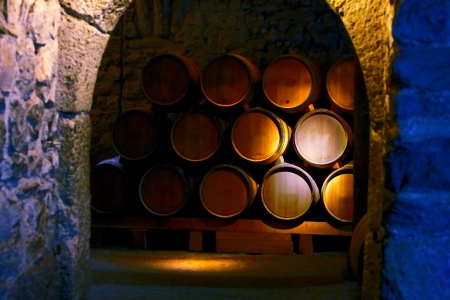 Barrel of wine in old winery. photo
