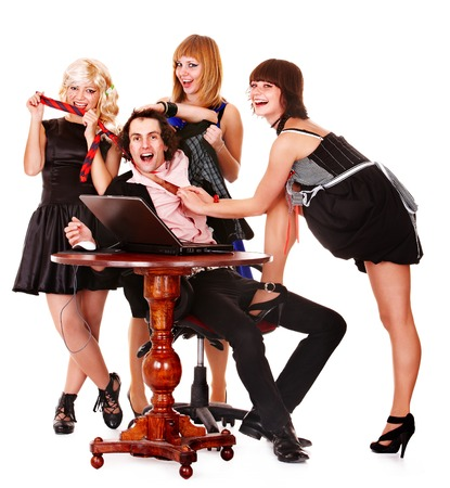 Group women and man with laptop. Online Entertainment. photo