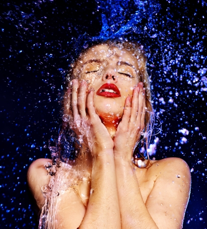 Wet woman face with water drop. Moisturizing. photo