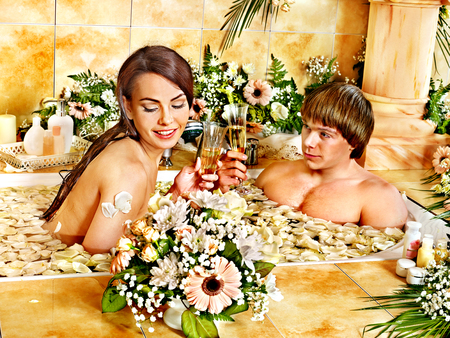 Couple relax  at luxury spa with flower. Stock Photo - 23356779