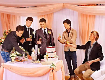 Group people at stage party before wedding. photo
