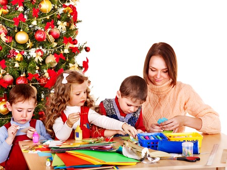 Children boy and girl making decoration for Christmas. Stock Photo - 23687422