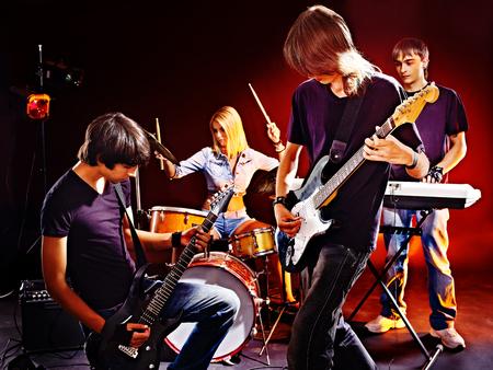 Group peole playing  guitar in night club. Stock Photo - 23702084