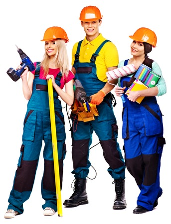 outils construction: Groupe de personnes constructeur avec des outils de construction. Isol�.