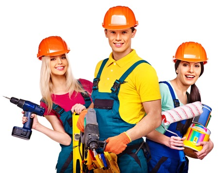 Group people builder  with construction tools. Isolated. photo