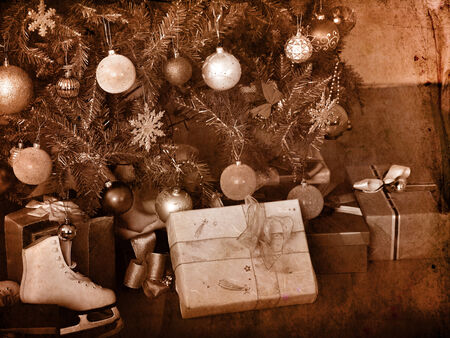 Xmas still life with Christmas tree.Black and white retro. photo