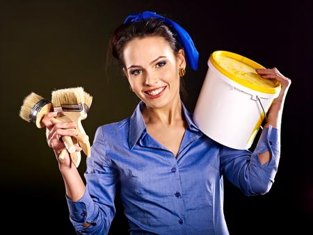 Builder woman witn wallpaper. Fashion, photo