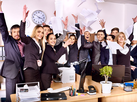 copier: Happy group business people with hand together in office. Stock Photo