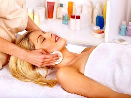 health resort treatment: Blond woman getting head massage.