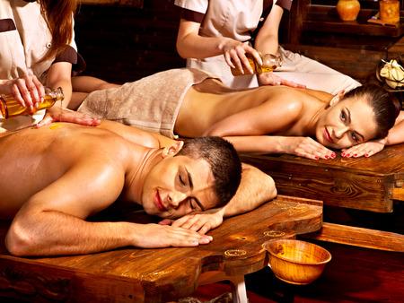 Couple  having oil Ayurveda spa treatment. Stock Photo