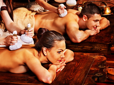 panchakarma: Couple  having oil Ayurveda spa treatment. Stock Photo