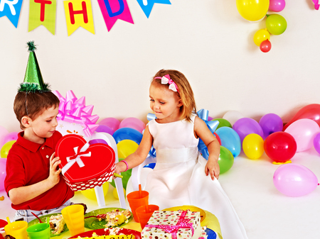 Children happy birthday party . Stock Photo - 26689479