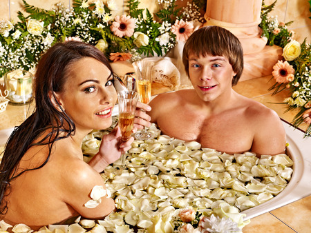Couple relax  at luxury spa with flower. photo