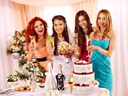 Group people at hen-party before wedding. photo
