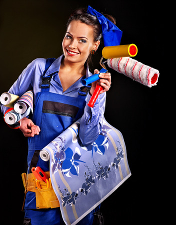 Builder woman with wallpaper  Fashion, photo