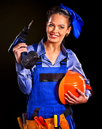 outils construction: Femme heureuse avec un constructeur d'outils de construction