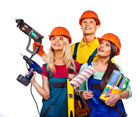 Group people builder  with construction tools  Isolated  photo