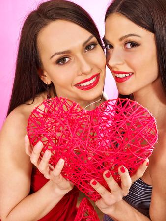 Two beautiful sexy lesbian women photo