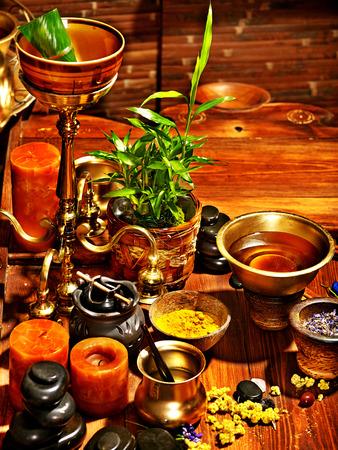 panchakarma: Luxury ayurvedic spa massage still life. Stock Photo