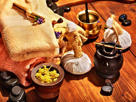 spa still life: Luxury ayurvedic spa massage still life. Stock Photo