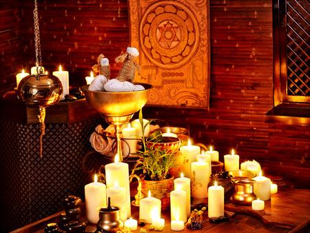 Luxury ayurvedic spa massage interior.