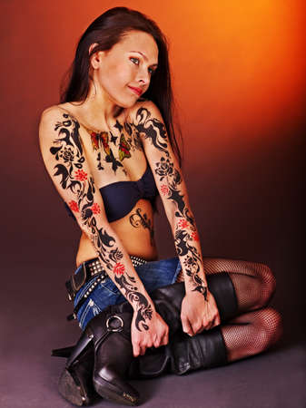 body art: Young woman with body art .