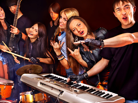 lighting effects musician: Musical group performance in night club  Lighting effects  Stock Photo