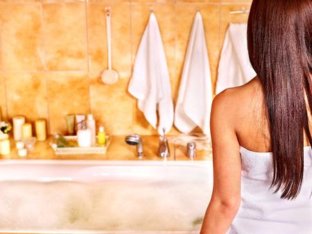 take a bath: Young woman take bubble  bath.
