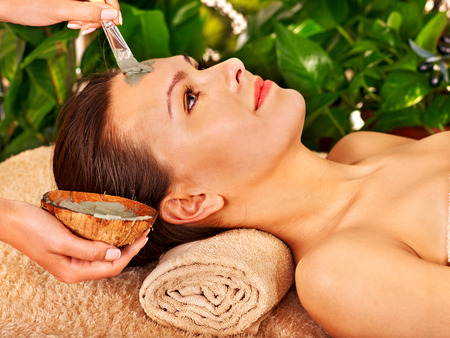 Woman with clay facial mask in beauty spa. Stock Photo - 29378613