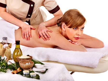 lastone: Woman getting spa lastone therapy outdoor.