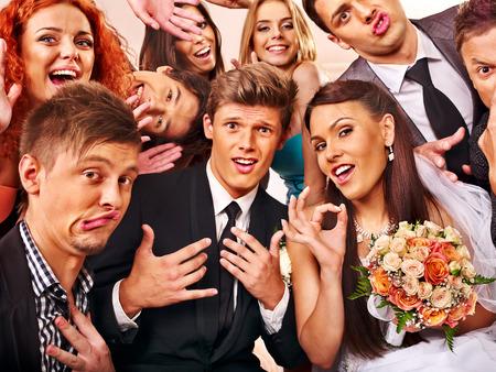 Bride and groom in photobooth. Wedding.