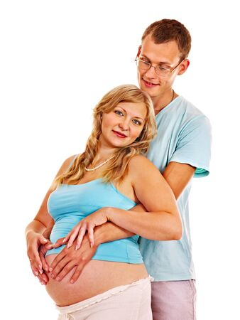 enceinte: Happy pregnant woman with man.  Isolated.