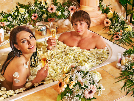Couple relax  at luxury spa with flower. Stock Photo - 30617805