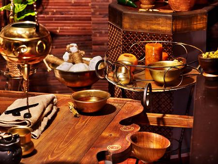 Luxe ayurvedische spa massage stilleven.
