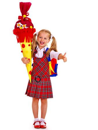 satchel: Child holding  school cone thumb up. Isolated. Stock Photo