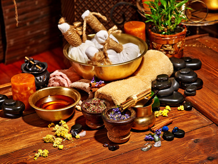healing plant: Luxury ayurvedic spa massage still life. Stock Photo