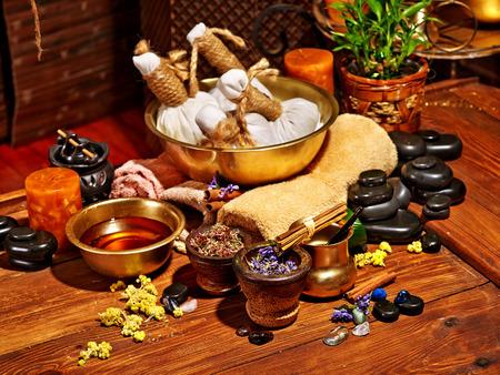 Luxury ayurvedic spa massage still life. Stock Photo