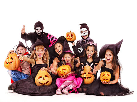 Halloween party with group children. Isolated. photo
