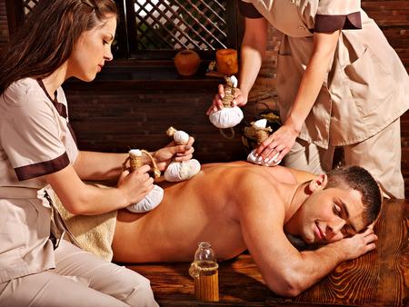 panchakarma: Couple  having oil Ayurveda spa treatment. Stock Photo