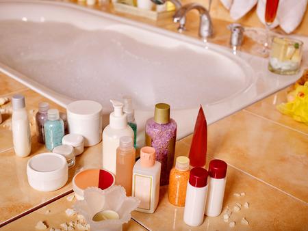 bubble bath: Home bathroom interior with bubble bath.