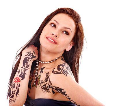 tatouage sexy: Jeune femme avec l'art corporel isolated.Tattoo sur tout le corps
