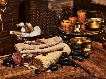 spa therapy: Luxury ayurvedic spa massage still life. Stone therapy. Stock Photo
