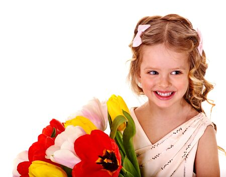 day care: Little girl with spring tulip flower . Easter.